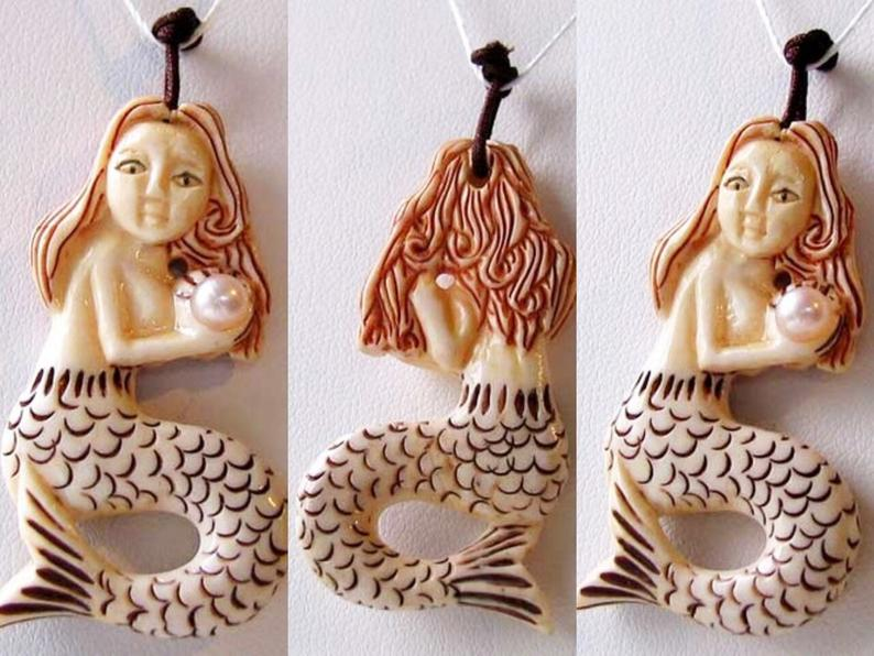 Splash Carved Mermaid W Pearl Centerpiece Bead 10072 Schooner Chandlery