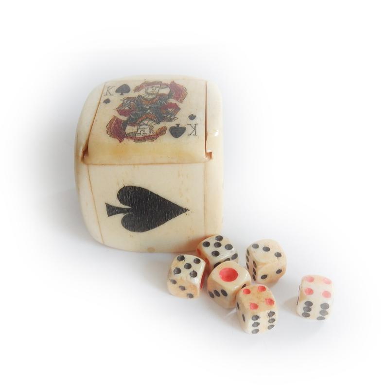 Scrimshaw Bone Dice Shaker Cup Card Game Hand Carved Miniature Bone Dice Schooner Chandlery