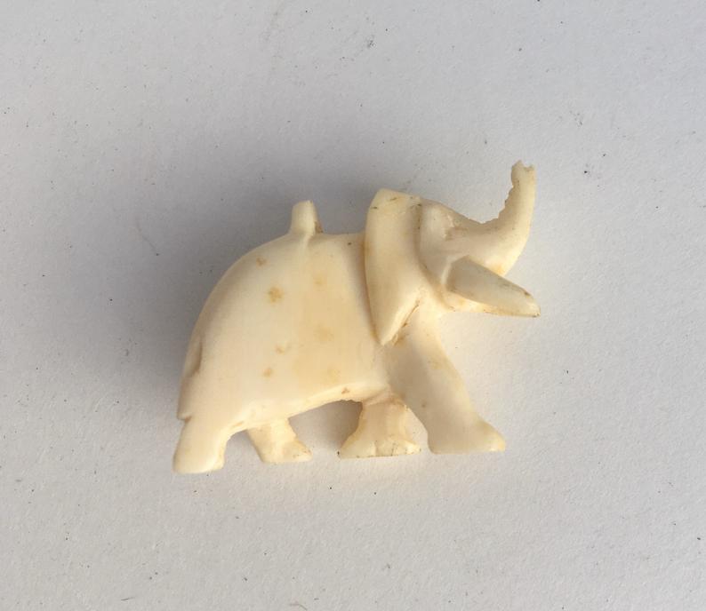 Miniature African Elephant Bone Carving Vintage Schooner Chandlery