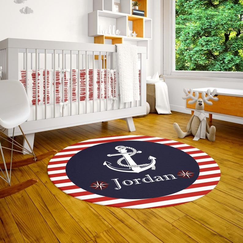 Personalized Round Rug Nautical Room Decor Playroom Rug Customized Nursery Decor Baby Boy Bedroom Decor Playroom Decor Custom Area Rug Schooner Chandlery