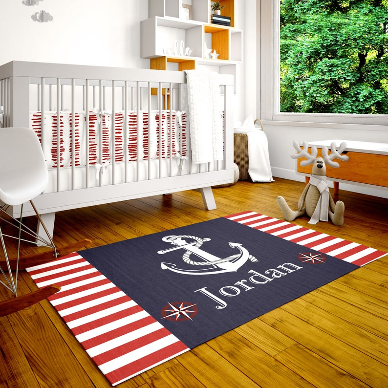 Personalized Rug Nautical Room Decor