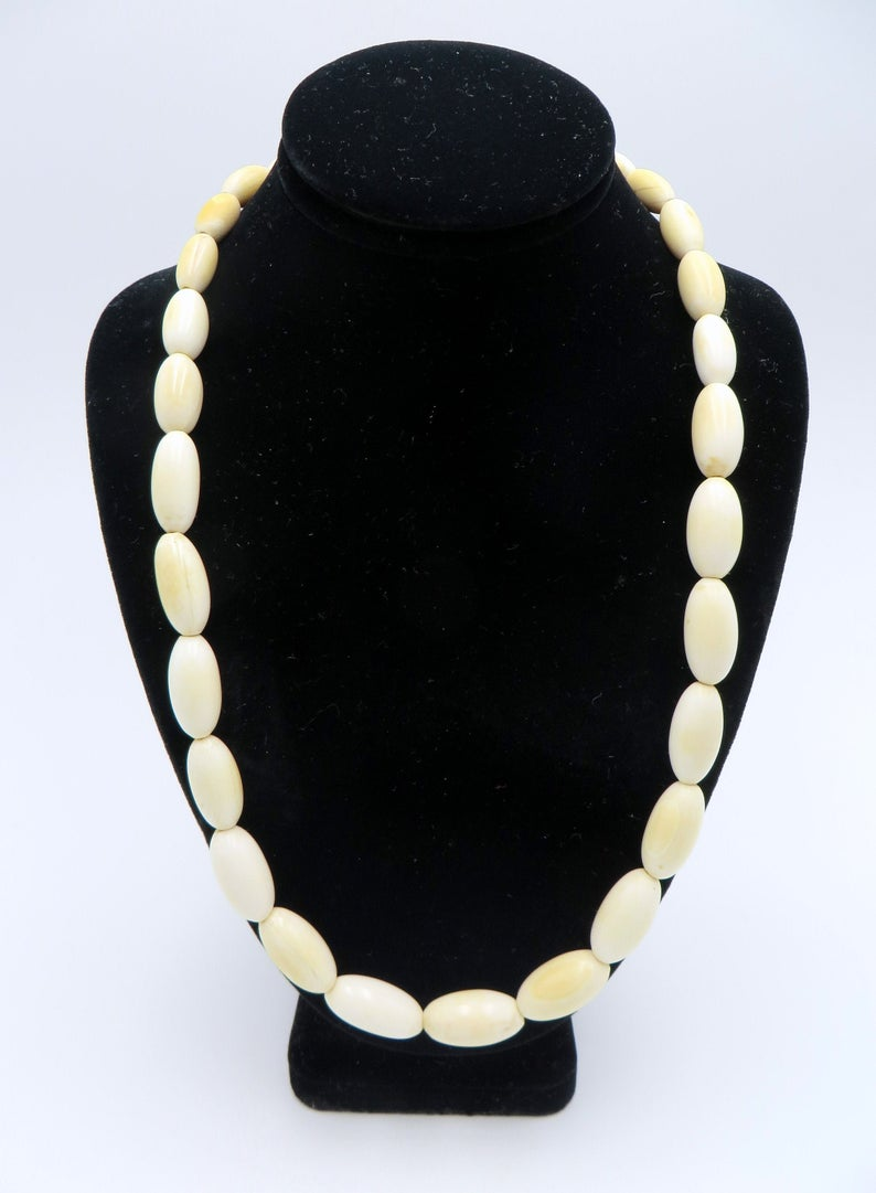 74g Antique Large Carved Bone Oval Pods Beaded Necklace Vintage Art Deco Graduated Ivory Cream Bone Beads Continuous Necklace 26 1920s 30s Schooner Chandlery