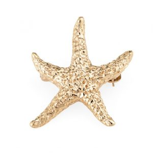 14K Yellow Gold Textured Mini Double Starfish /& Coral Small Charm Pendant