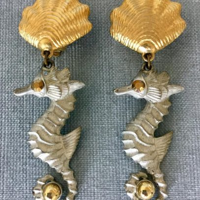 Vintage Shell On Gold Tone Metal Clip On Earrings