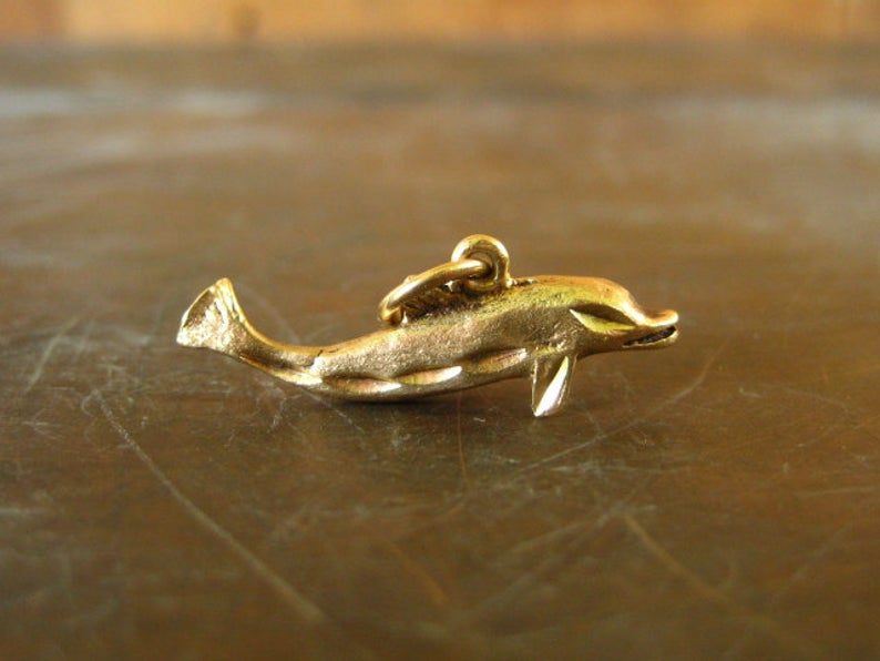 14k Solid White Gold Dolphin Pendant Nautical Charm