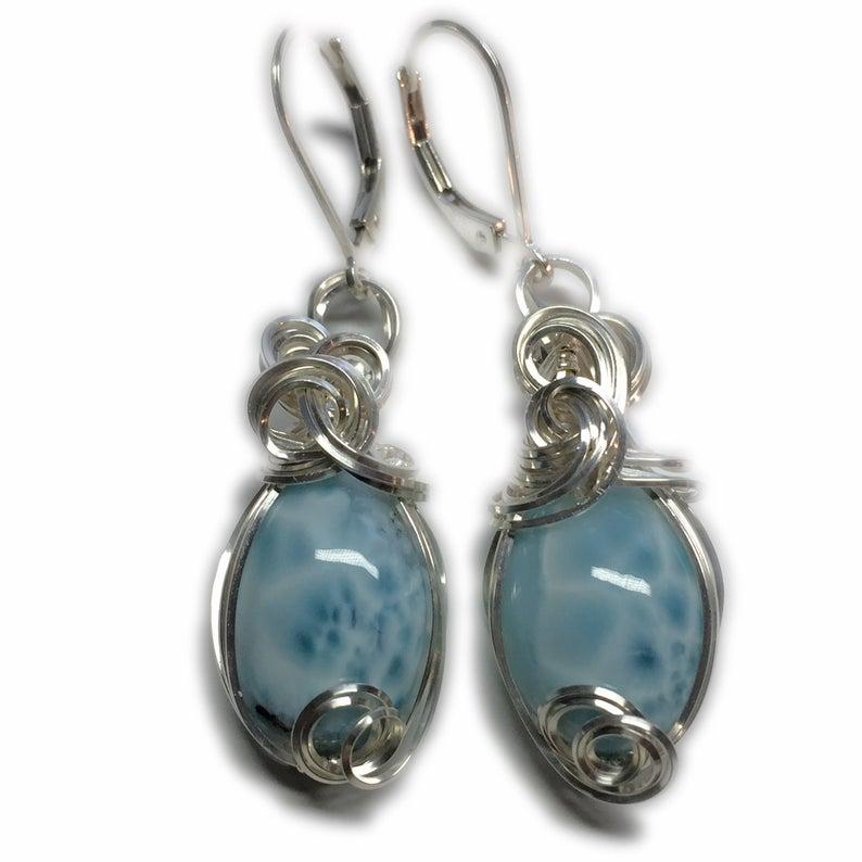 Healing Crystals and Stones Larimar Earrings Sterling Silver Larimar Earrings