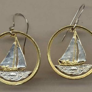 Gorgeous 2-Toned Gold on Silver Bahamas Sail boat Money clips Coin