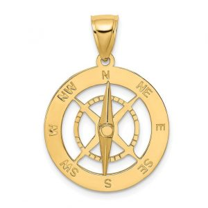 14k Gold Nautical Charm Pendant 3D 2-piece Kedge Anchor Movable High Polish